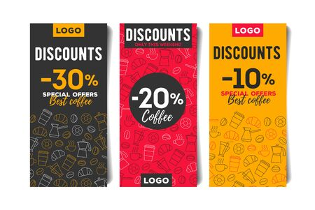 Advertising flyer, leaflet template set in bright colours with line pattern of coffee beans, cups and breakfast food Illusztráció