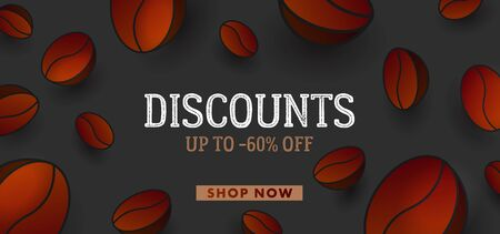 Advertising banner with big 3d Vector Coffee Beans and typography, websit banner template for sale and discounts for coffee, cover layout
