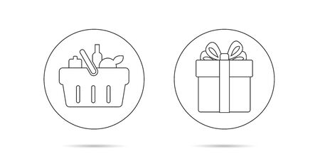 Line icons of shopping basket and gift box for advertising campain, buy to get present, graphic element Illusztráció
