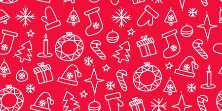 Vector Merry Christmas seamless pattern with line doodle icons. Christmas tree baubles and balls, sweets, candy canes, stars, candeles and snowflakes, bells and wreath, santa hat and sock
