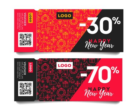 Happy new year invitation tickets with christmas pattern and discounts