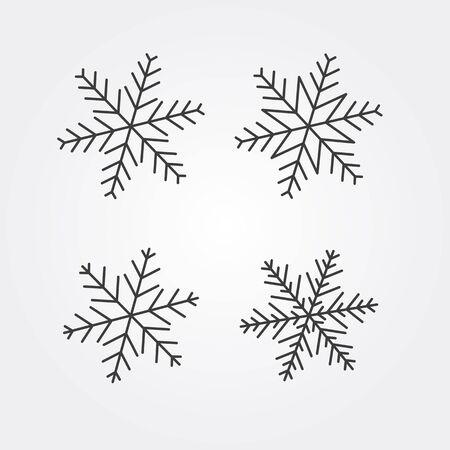 Winter snowflakes icon set, various shapes linear icons Illusztráció
