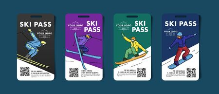 Set of ski pass cards, admission for lift to the mountain slopes with colorful illustrations of skier and snowboarder with qr code, modern sltylish graphic