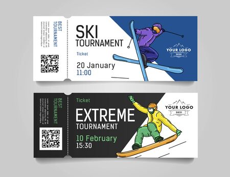 Admission tickets for extreme winter sports tournament or competition invitation with skier and snowboarder illustrations, advertising promo template Illusztráció