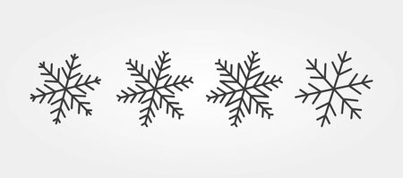 Winter snowflakes icon set, various shapes line icons Ilustracja
