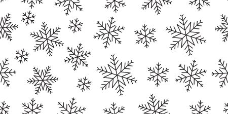 Snowflake seamless pattern. Vector snowflakes geometric background, simple line various shapes