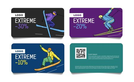 Set of cards, discount vouchers for ski pass or advertisong with colorful illustrations of skier and snowboarder on the slopes Illusztráció