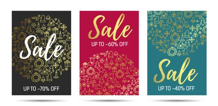 Christmas sale vector poster, flyer design set with sale promotional text and golden christmas elements pattern, premium segment, advertising template leaflets Ilustracja