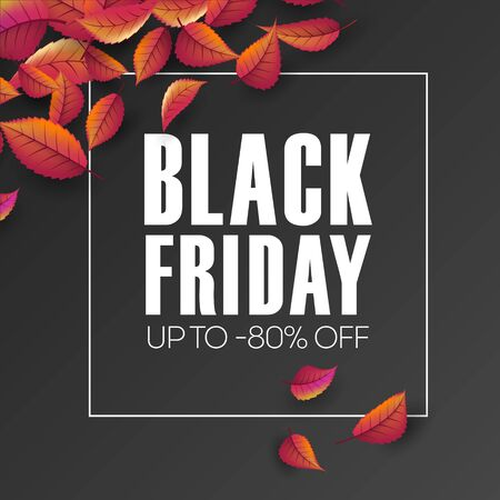 Black friday sale vector promotion banner with autumn leaves. Fall season, banner template for autumn seasonal discounts, shop now, special offer advert
