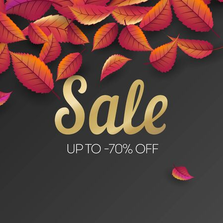Black friday sale vector promotion banner with autumn leaves. Golden text and discounts. Fall season, banner template for autumn seasonal discounts, shop now, special offer advert Illusztráció