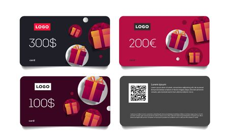 Gift Voucher Template set of cards with Monetary Value and Present Boxes, discount advertising Stock fotó - 135034207