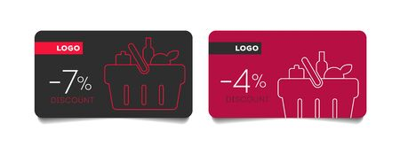 Loyalty discount cards set with shopping basket vector mono line icon, collect bonus, earn reward, redeem gift, win present, linear illustration, outline design