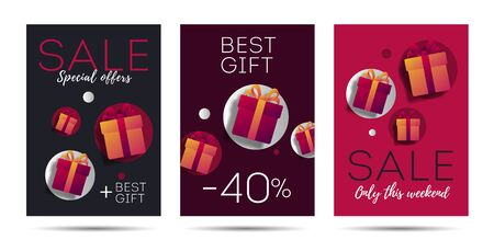 Advertising poster Template set with Monetary Value and gift Boxes, discounts and presents marketing advertising