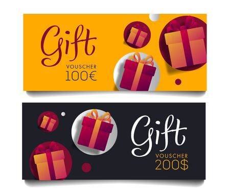 Gift Voucher Template with Monetary Value and Present Boxes, discount advertising in two colours, yellow and black