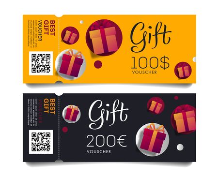 Gift Voucher Template of torn-off tickets oe invitation with Monetary Value and Present Boxes, discount advertising