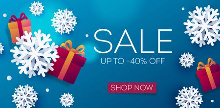 winter Sale poster with realistic 3d snowflakes and gift boxes on blue backdrop, digital banner with shop now button