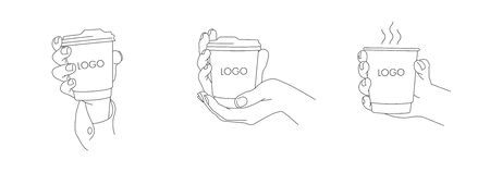 Set of vector line illustrations of hands holding paper coffee cup, various positions, coffee to go