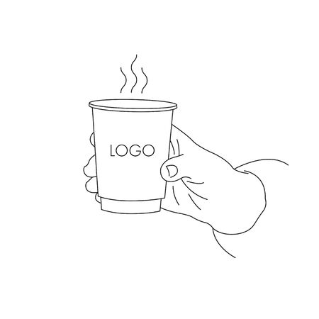 illustration of a hand holding a paper cup with coffee to go