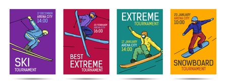 Set of posters for extreme winter sports tournament or competition with snowboarder and skier in various positions