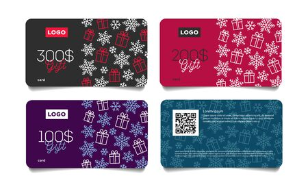 Set of Christmas or winter dicount gift vouchers, cards with snowflakes and gift boxes pattern and monetary reward, simple and stylish graphic Illusztráció
