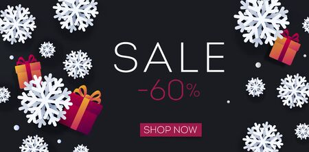 winter Sale Christmas poster with white realistic 3d snowflakes and gift boxes on black backdrop, digital banner with shop now button Illusztráció