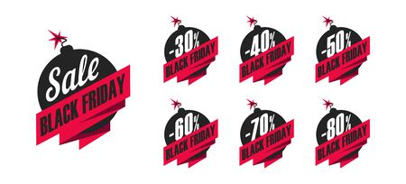 Set of promo tags for black friday, with discount percent on bobms Stock fotó - 134855613