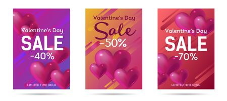 Valentines Day sale web banner, flyer concept. Pink cute balloons in shape of heart, promo text, vector illustration.