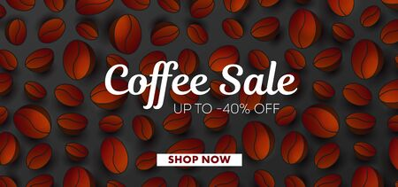 Advertising poster with 3d Vector Coffee Beans pattern and typography, website banner template, cover layout