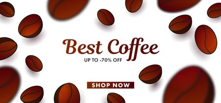 Advertising poster with 3d Vector Coffee Beans in focus blur, foreground and background with calligraphy text and discounts on white backdrop