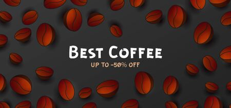 Advertising poster with 3d Vector Coffee Beans around typography text best coffee and discounts, website banner template, cover layout