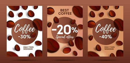 Set of flyers for coffee shop or cafe with 3d coffee beans 3d, with focus blur of the foreground, cover template Vectores