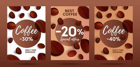 Ensemble de flyers pour café ou café avec des grains de café 3d 3d, avec flou de mise au point du premier plan, modèle de couverture Vecteurs