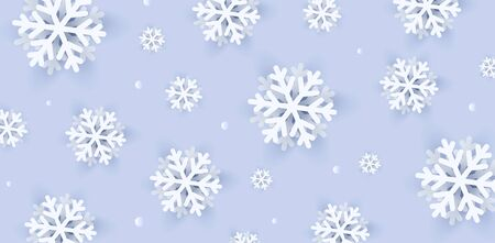 3d realistic snowflakes illustrations on light blue background, modern winter pattern