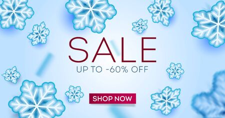 Winter poster with falling snowflakes. Advertising digital poster or banner with snowflakes and shop now button