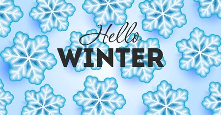 Hello winter wallpaper with typography and snowflakes illustrations on blue ice backdrop Stock fotó - 134855624