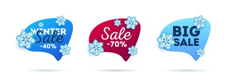 Special winter offer stickers set. Speech bubbles with 3d snowflakes, advertising labels