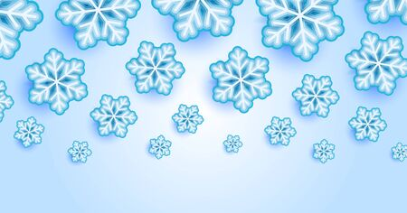 Falling Snow Effect with Realistic Vector Snowflakes on Light Background. Christmas Holiday Winter Frozen Ice 3D Illustration