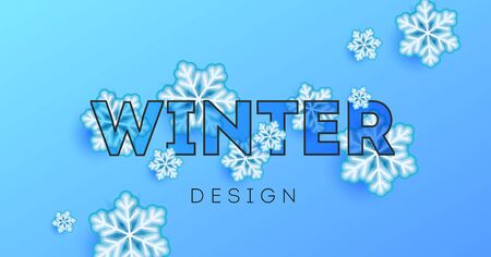 Modern Winter poster design with big typography and snowflakes between letters, modern graphic element on blue ice backdrop Illusztráció