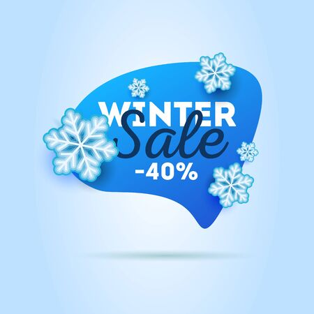 Winter sale advertising label tag in speech bubble shape with snowflakes around it