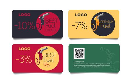 Set of discount cards with fueling gun nozzle illustration, template layout for transport or gas station promo