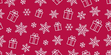 Seamless vector pattern with gift boxes and snowflakes single line icon illustrations Illusztráció