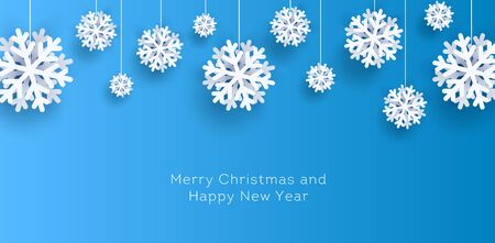 Greeting New Year and Christmas poster with white paper decorative snowflakes hanging from top on a rope Illusztráció