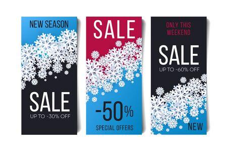 Christmas sale flyer leaflet set. Snowflakes illustrations on bright colorful backdrop with discounts sale advertising Illusztráció