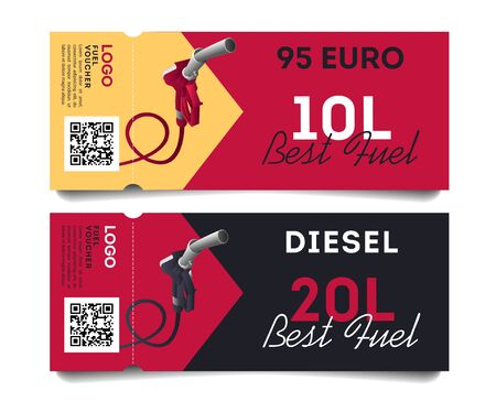 Fuel torn off cards or advertising flayers for types of gas and volume of liters and qr code, ready template, stylish graphic Illusztráció