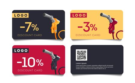 Set of discount cards with fueling gun nozzle illustration and per cent number, template layout for transport or gas station promo