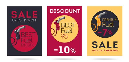 Set of flyers or posters for gas station with sale promo, refueling gun, fuel nozzle illustration