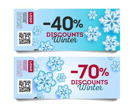 Winter sale Coupon Template with discounts, snowflakes illustration on dlue frosty backdrop with torn-off part and qr code