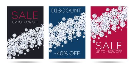 Set of winter Christmas posters with snowflakes illusteration in 3d modern style, with discounts sale