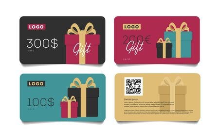 Gift card template with monetary award and gift boxes illustration. Special offer for the customer.