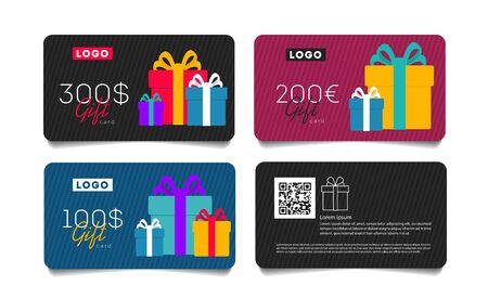 Gift card template with monetary award and gift boxes illustration. Special offer for the customer with qr code